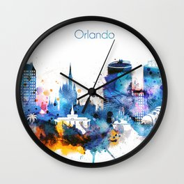 Watercolor Orlando skyline design Wall Clock