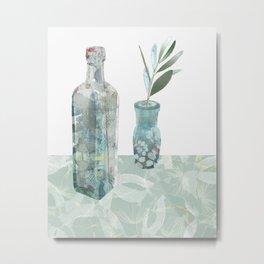 Bottles on tablecloth 4 Metal Print