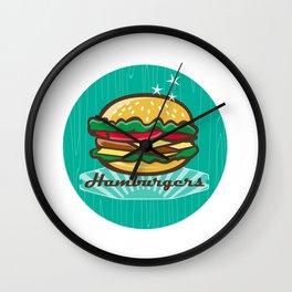 Retro 1950s Diner  Hamburger Circle  Wall Clock