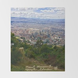 Mount Monserrate, with a 10,000 ft view of Bogota Colombia Throw Blanket
