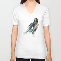 falcon V-neck T-shirts featuring Falcon by RIZA PEKER