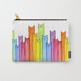 Rainbow of Cats Funny Whimsical Colorful Cat Animals Carry-All Pouch