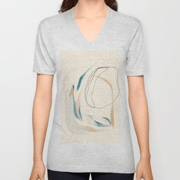 Abstract Lines On Cream. Unisex V-Neck
