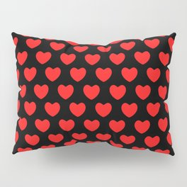 Red Hearts on Black Pillow Sham