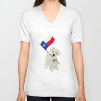 westie V-neck T-shirts featuring Original Paper Cutting of Westie With Texas Flag by Carrie McFerron