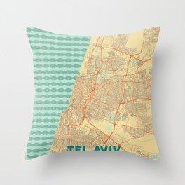 Tel Aviv Map Retro Throw Pillow