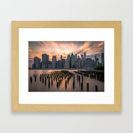 New york city long exposure Framed Art Print