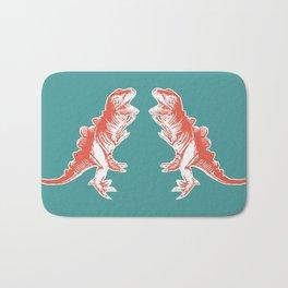 Dino Pop Art - T-Rex - Teal & Dark Orange Bath Mat