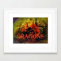 dragons Framed Art Prints featuring Dragons by frantzoflasvegas