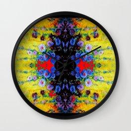 YELLOW GARDEN GOLD BLUE FLOWERS BLACK  PATTERN ART Wall Clock