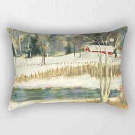 Hibernation // Winter Landscape Watercolor Painting // Farm Life Rectangular Pillow