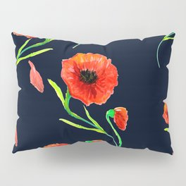 Red Poppies Field Pillow Sham