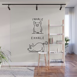 Inhale Exhale Pig Wall Mural