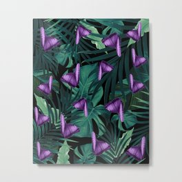 Tropical Butterfly Jungle Night Leaves Pattern #4 #tropical #decor #art #society6 Metal Print