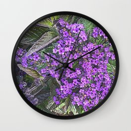 Spring floral blossom in lilac and green Wall Clock