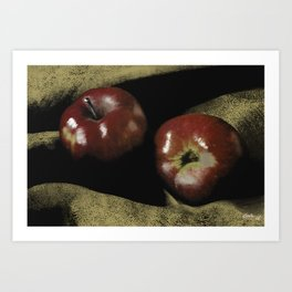 Apples on Burlap Art Print