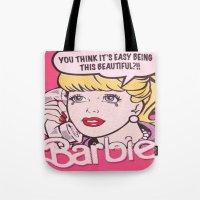 barbie Tote Bags featuring Barbie by LuxuryLivingNYC