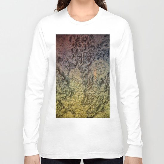 Map of Falmouth Harbour Long Sleeve T-shirt