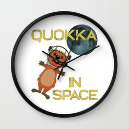 Quokka In Space Australia Kangaroo Marsupial Wall Clock