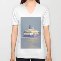 oslo V-neck T-shirts featuring Copenhagen To Oslo Ferry by Malcolm Snook