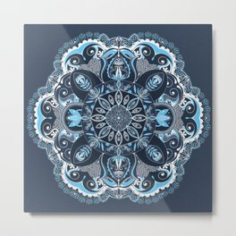 Bohemian Mandala in Blue Metal Print