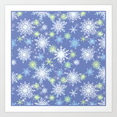 white , delicate snowflakes on a light blue background. Art Print
