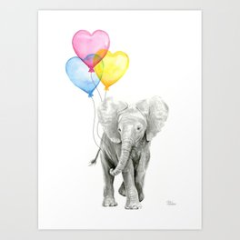 Elephant Watercolor with Balloons Rainbow Hearts Baby Animal Nursery Prints Art Print