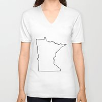 minnesota V-neck T-shirts featuring Minnesota by mrTidwell