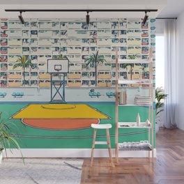 Ball is life - Baseball court Palmtrees Wall Mural