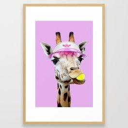 TENNIS GIRAFFE Framed Art Print