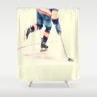 hockey Shower Curtains featuring The Sport Of Hockey by Karol Livote