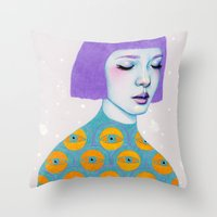 purple Throw Pillows featuring The Observer by Natalie Foss