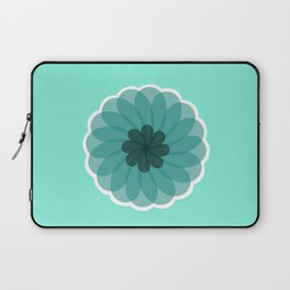 turquoise blue geometrical flower Laptop Sleeve