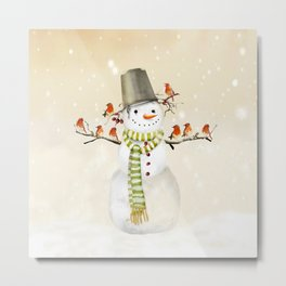 Snowman and Birds Metal Print
