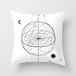 Alchemy symbol with eye, moon, sun Throw Pillow
