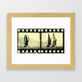 sailboat in film frame Framed Art Print