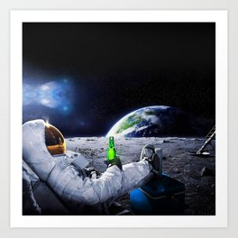 Funny Astronaut with space beer Art Print