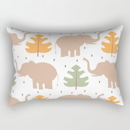 cute pattern background illustration with elephants and tropical exotic leaves Rectangular Pillow