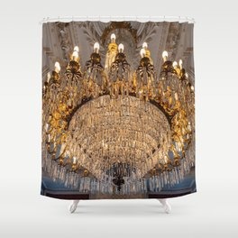 Reproduction of antique chandelier with crystals Shower Curtain