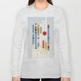 Geometric Abstraction I – Pale Blue / Orange / Yellow Long Sleeve T-shirt