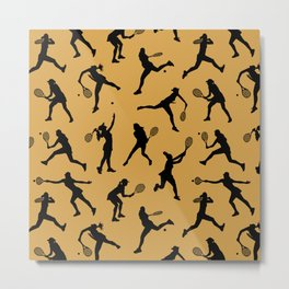 Tennis Players // Mustard Metal Print