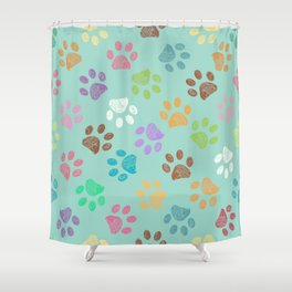 Doodle colorful paw candy colors pattern Shower Curtain