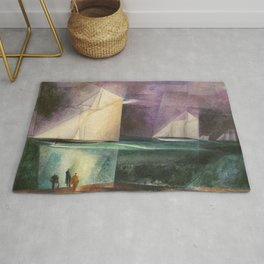 Sailing Yachts in Purple Twilight by Lyonel Feininger Rug