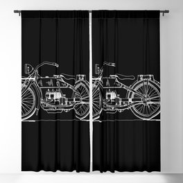 1919 Motorcycle Patent Black White Blackout Curtain