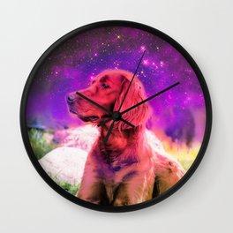 Cute Irish Setter Dog In Space Wall Clock