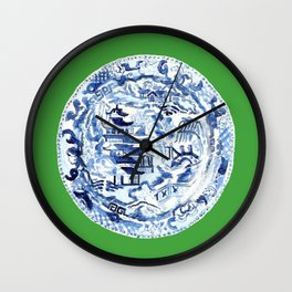 CHINOISERIE PLATE ON EMERALD Wall Clock