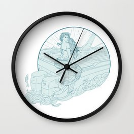 Mermaid Sitting on Boat Drawing Wall Clock