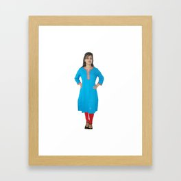Sky Blue Colored Kurtis Framed Art Print