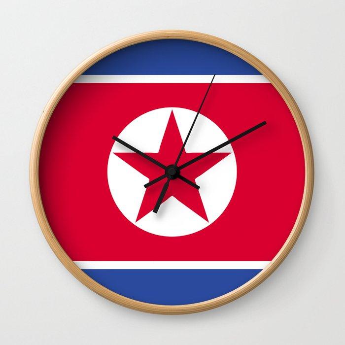 North Korea flag emblem Wall Clock