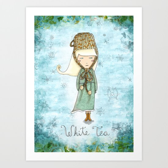 White Tea Girl Art Print